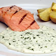Grilled salmon with Fresh Goat Cheese and dill